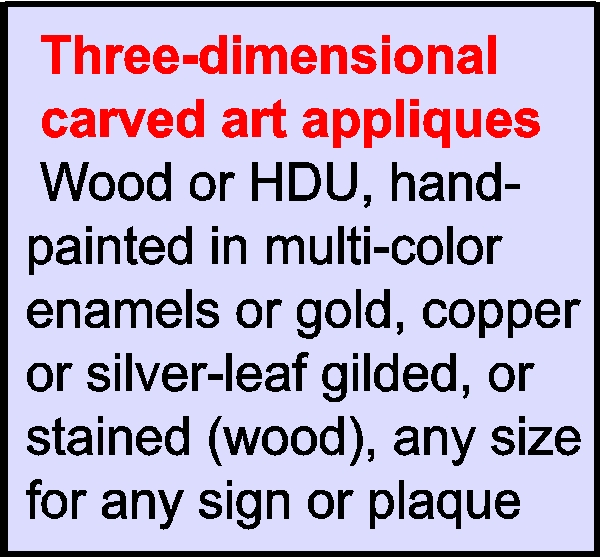 O25900  - 3-D Carved Bas-Relief Appliques for Restaurant Signs and Plaques