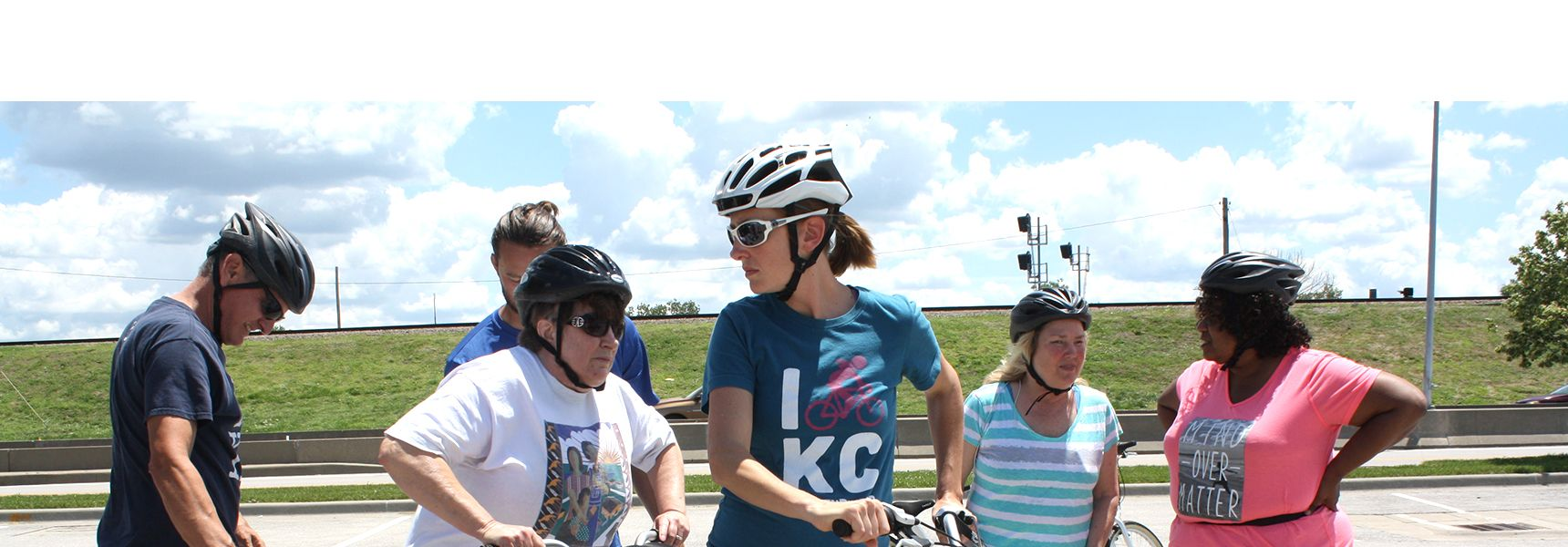 BLVE members get ready to ride tandem bicycles