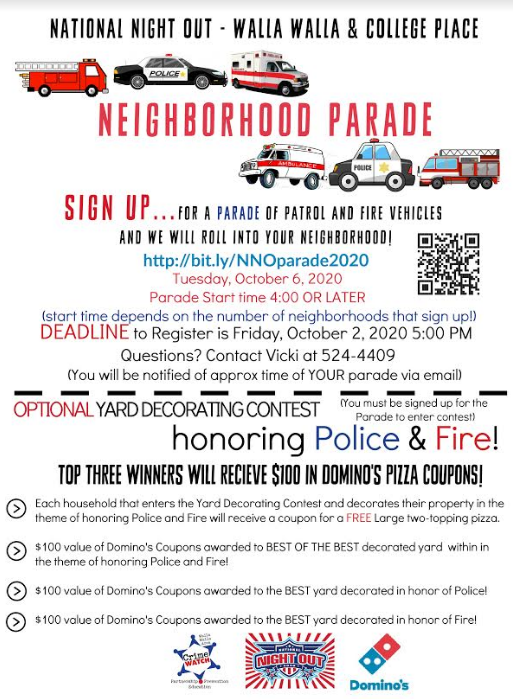 Walla Walla's National Night Out (NNO) Emergency Services Parade & Yard Decorating Contest