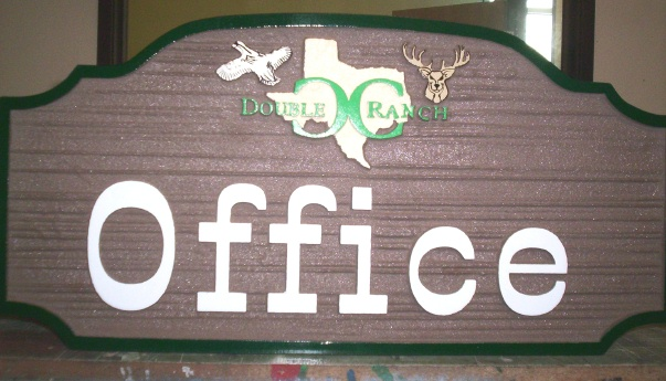 T29404 - Carved and Sandblasted (Wood Grain Pattern) Elliptical  HDU Office Sign for Dude Ranch, with Texas and Brand as Artwork