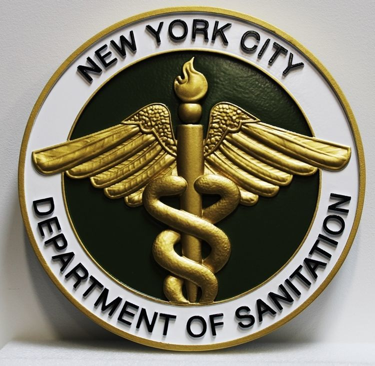 DP-1768 - Carved 3-D HDU Plaque of the Seal of the Department of Sanitation, New York City, with Caduceus as Artwork