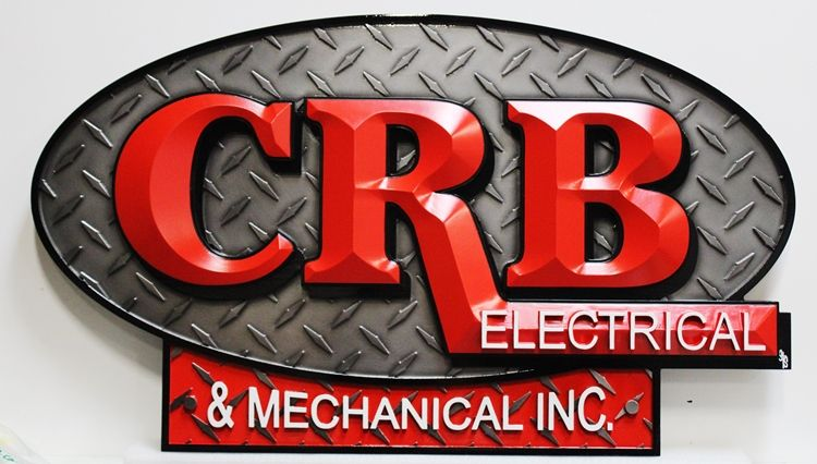 S28169- Carved 3-D High-Density-Urethane Entrance Sign for  CRB Electrical & Mechanical, Inc, with Prismatic Letters and  Steel Tread Plate as Artwork