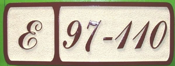 T29212 - Carved  Sandblasted High-Density-Urethane (HDU) Room and Building Number Plaque with Raised  Numbers