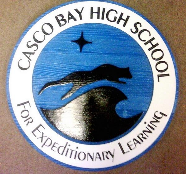 Y34820 - Carved 2.5-D Sandblasted Cedar Wall Plaque with Logo of Casco Bay High School