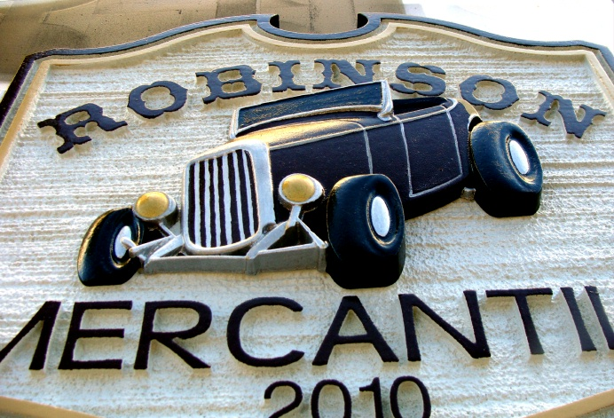 SA28507 - Close-Up View of the Merchantile Sign with 3-D Model-T Ford