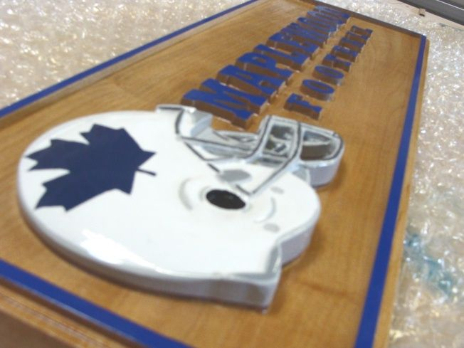 """N23462 - Maple Plaque with 3-D Football Helmet and Raised Text for """"Maplewood Football Team"""""""