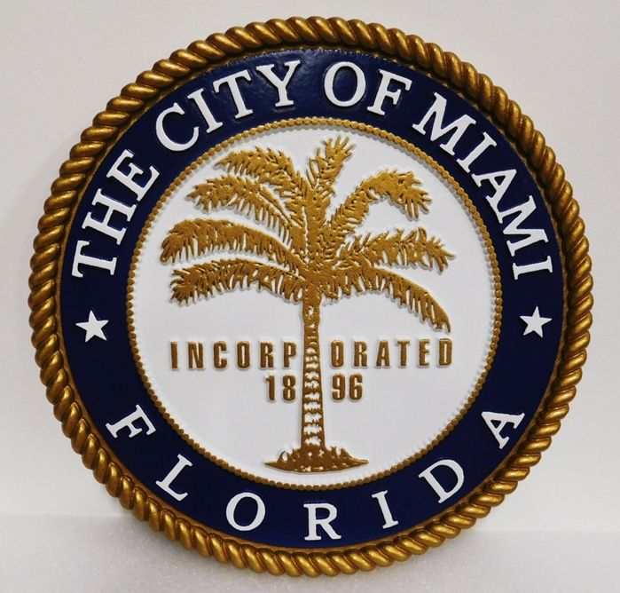 DP-1657 - Carved Plaque of the Seal of the City of Miami, 2.5-D Artist-Painted