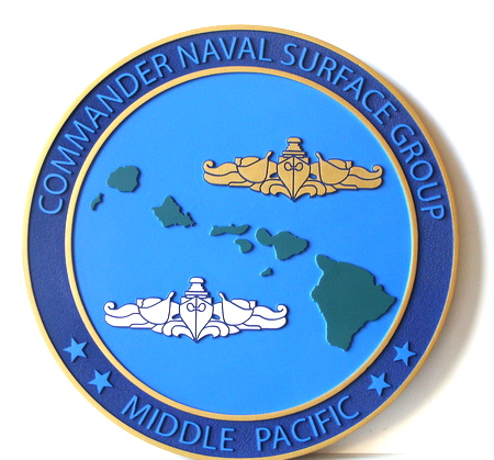 V31326 - Carved Wood Wall Plaque of Seal of Commander Naval Surface Group, Middle Pacific