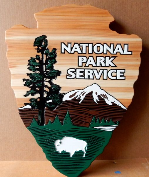 AP-5685 - Carved Plaque of the Seal of the US National Park Service, Artist Painted on Cedar Wood