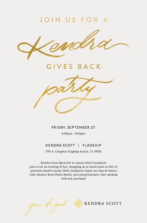Kendra Scott Gives Back 20% to Austin Child Guidance Center!