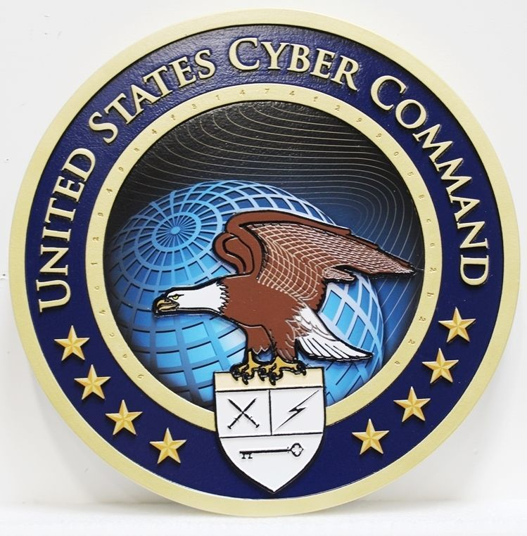 IP-1630 - Carved 2.5-D Raised Relief HDU Plaque of the Seal of the United States Cyber Command