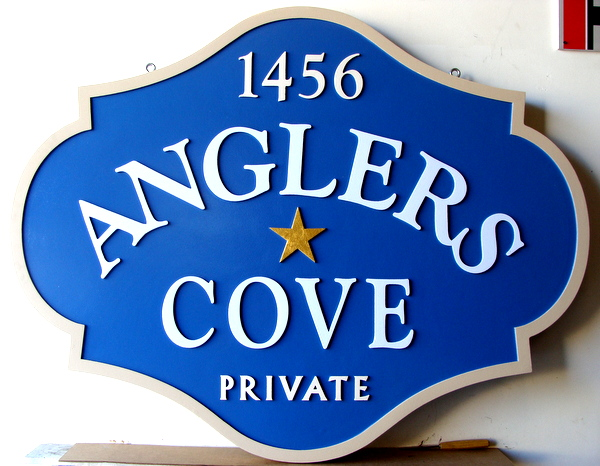 "K20099- Sandblasted, Carved HDU Address Sign for ""Angler's Cove"""