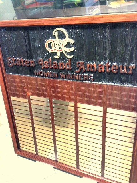 Z35810- Sandblasted Mahogany Plaque Listing Winner's Names for Womens' Golf Tournament