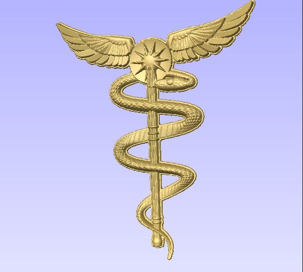 M2985 - Carved HDU Physician Symbol -Gold leaf (gallery 11)