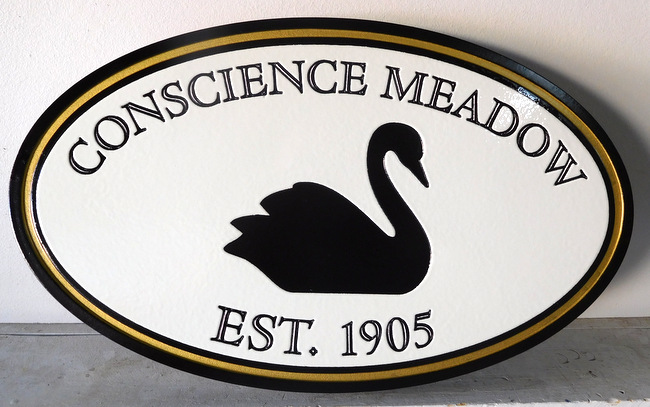 "M22823 - Elegant Engraved Lake House Sign ""Conscience Meadow""  Featuring a Black Swan Swimming"