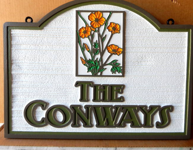 I18220 - Carved and Sandblasted Property Name Sign with Wildflowers
