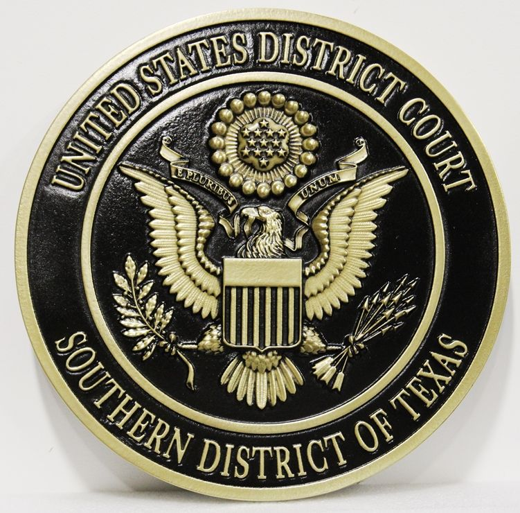 FP-1377 - Carved 3D HDU Plaque of the  Seal  of the US District Court, Southern District of Texas, Artist Painted