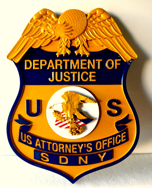 X33416 - Wall Plaque of the Badge for US Department of Justice, US Attorney's Office