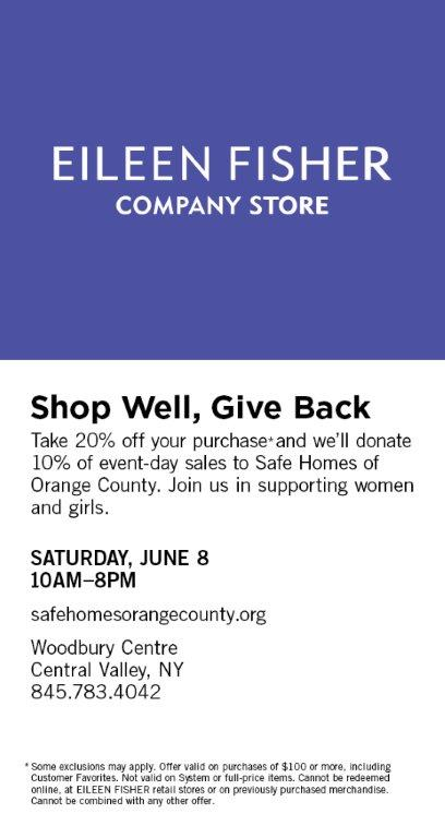 Eileen Fisher Company Store benefit for Safe Homes