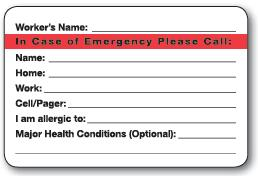 Emergency Please Call Label