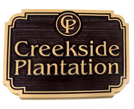 "I18166 - Estate Carved Wood Entrance Sign, ""Creekside Plantation"""