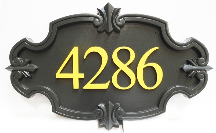 KA20859 - Elegant Carved High-Density-Urethane (HDU) Street Number Sign, 3-D.