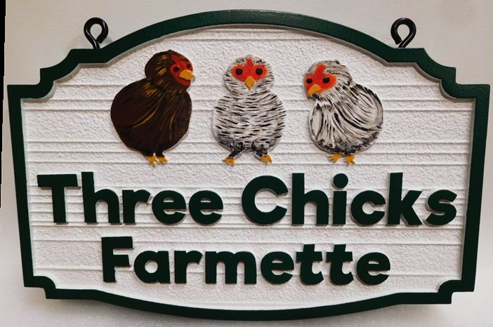 "O24461 - Entrance Sign to the ""Three Chicks Farmette""  with three Artist-painted Chicks"