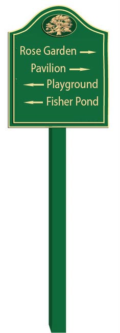 GA16575 - Design of Post-Mounted Carved HDU or Wood Directional Sign for Rose Garden, Pavilion, Playground and Pond