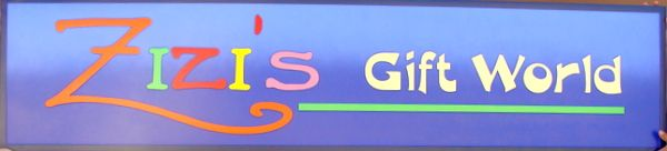 """S28076 - Beautiful and Colorful Sign for """"Zizi's Gift World"""" Store"""