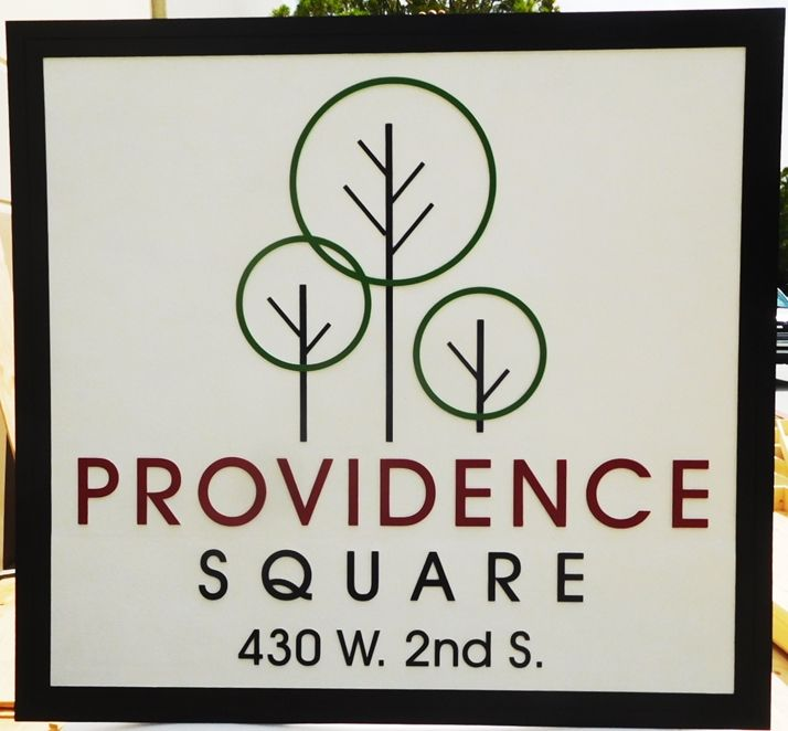 """S28099 - Large Carved HDU Commercial Sign  for """"Providence Square"""" , 2.5-D Artist-Painted"""