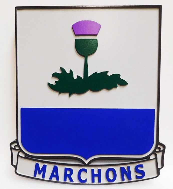 "MP-2078 - Carved Plaque of the Crest of the US Army 338th Regiment Advanced Individual Training Unit with Motto ""Marchons"" (March On), Artist-Painted"