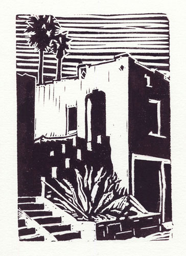 "Near the Vista,, block print with water-based printing ink, 4"" x 6"""