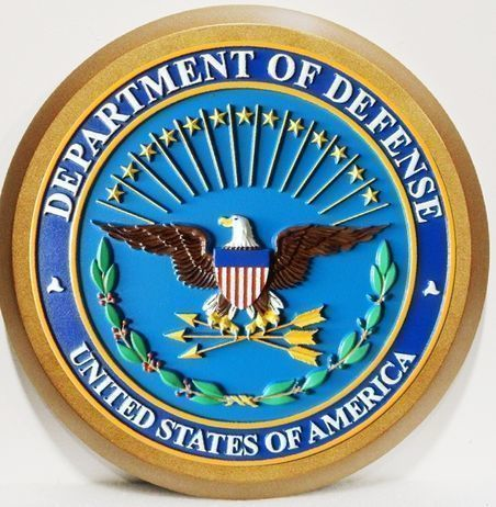 V31103 -  Carved 3-D High-Density-Urethane (HDU) and Mahogany Wood Wall Plaque of the Great Seal  of US Department of Defense