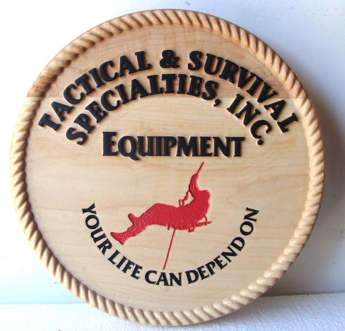 SA28012 - Cedar Wood Sign with Mountain Climber for Climbing and Survival Equipment Supplier