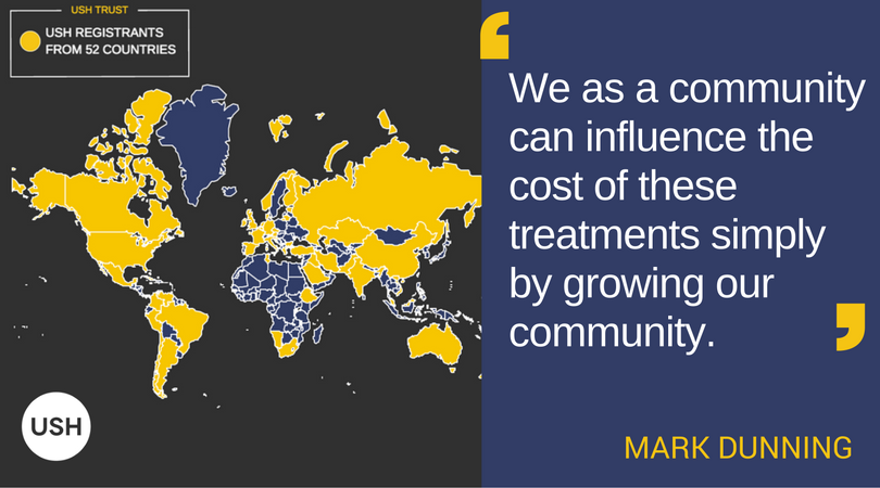 "Image of USH Trust map showing 52 countries with registrants in gold. Image text: ""We as a community can influence the cost of these treatments simply by growing our community."" - Mark Dunning"
