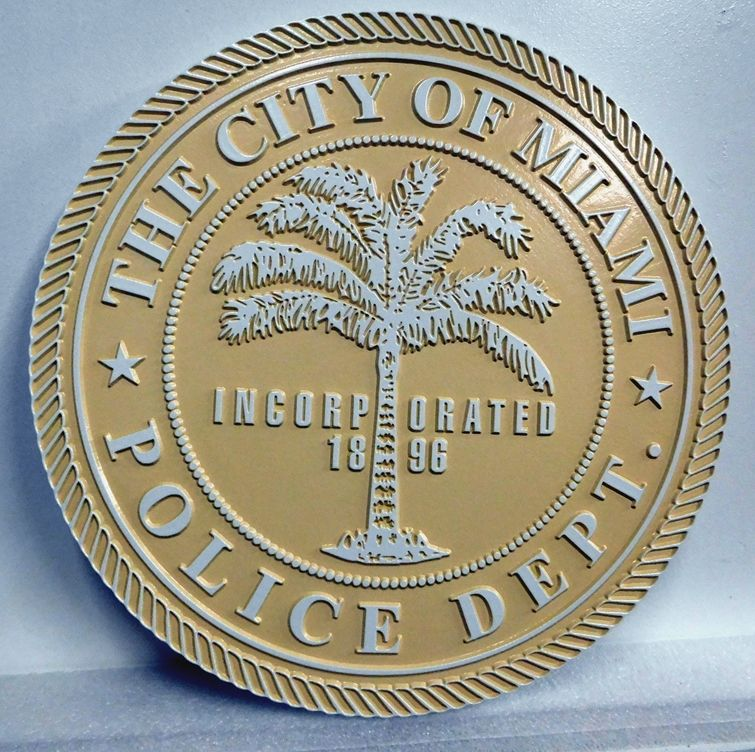 X33716 - Carved 2.5-D Wall Plaque for the City of Miami Police Department, featuring the Seal of Miami.