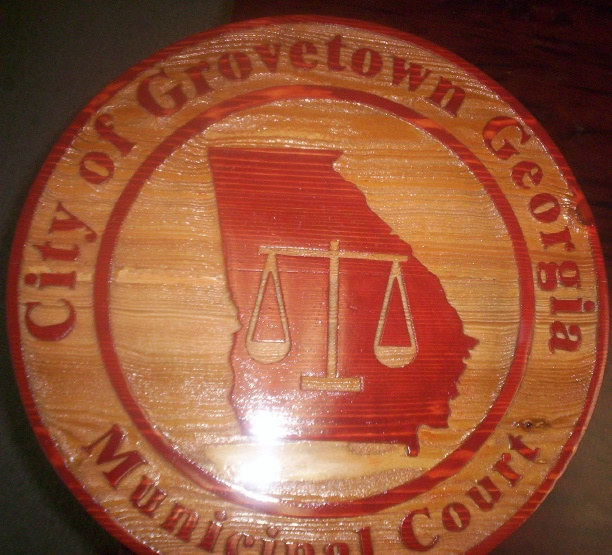 M3948 - Carved Cedar Wood Municipal Court Plaque for Grovetown GA with Scales of Justice and Outline Map of Georgia (Galleries 10 and 32)