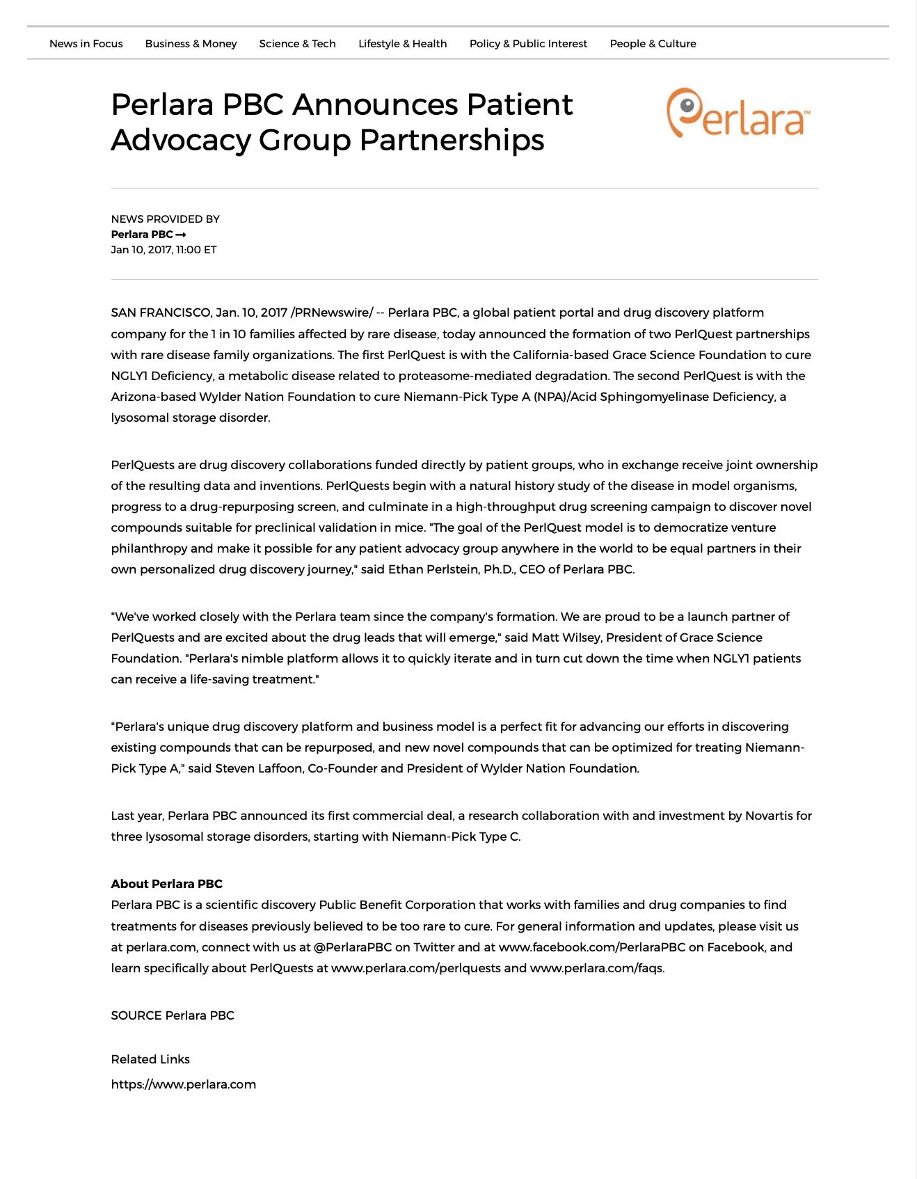 Perlara PBC Announces Patient Advocacy Group Partnerships