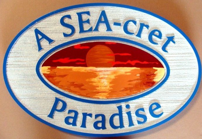 L21238 - Sandblasted,Artist-Painted HDU Sign with Sunset Over Ocean as Artwork