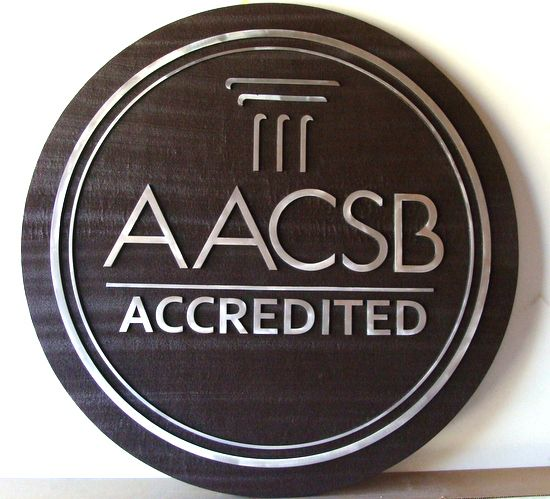 Y34390 - Carved 2.5-D Cedar with Aluminum Overlay Wall Plaque of the Seal of AACSB