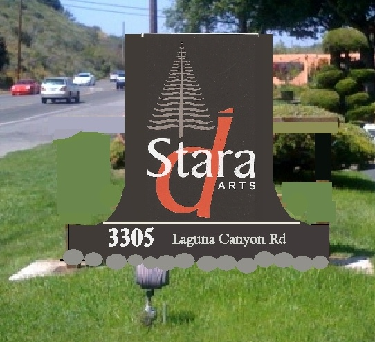 "S28050 - Carved 2.5-D High Density Urethane Monument  Sign for the ""Stara Arts Gallery"", with its Name , Address and Logo"