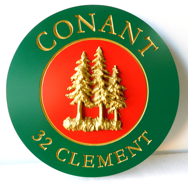M22053 - Cabin Name Sign (Round) with 3-D Pine Trees