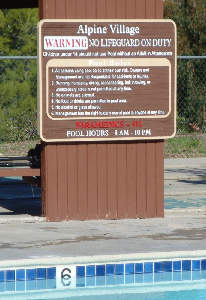 GB16300 - Carved and Sandblasted Wood Grain HDU Swimming Pool Rules and Safety Sign  Mounted on Wall