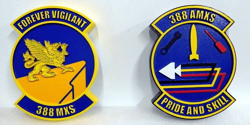 V31571A -  Two  Carved and Sandblasted Wall Plaques for the 388  MXS and AMXS Air Force Units