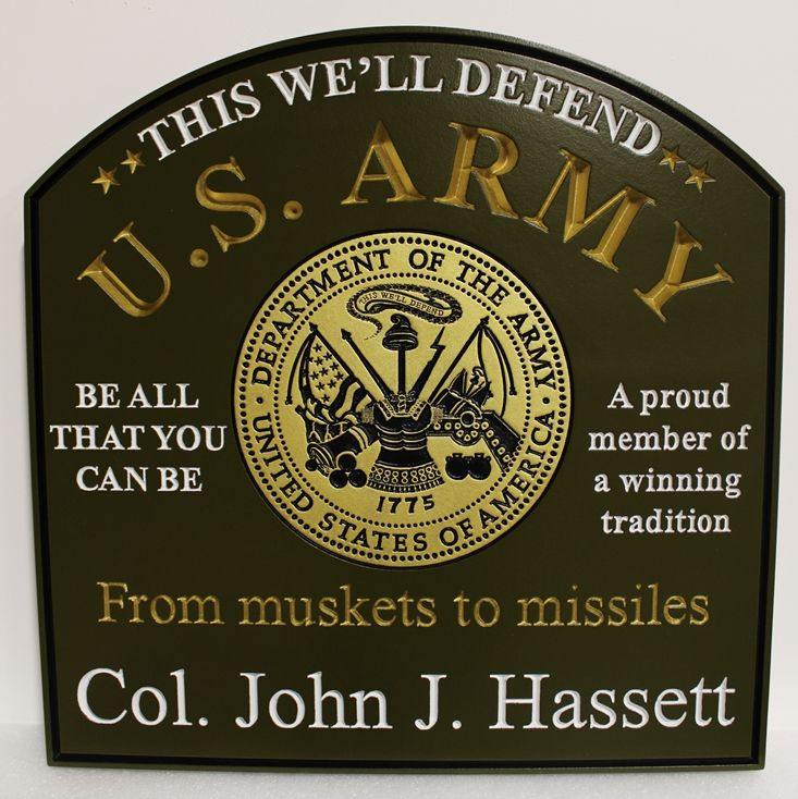 MP-3570 - US Army Officer Name Plaque., 2.5-D Engraved Artist-Painted
