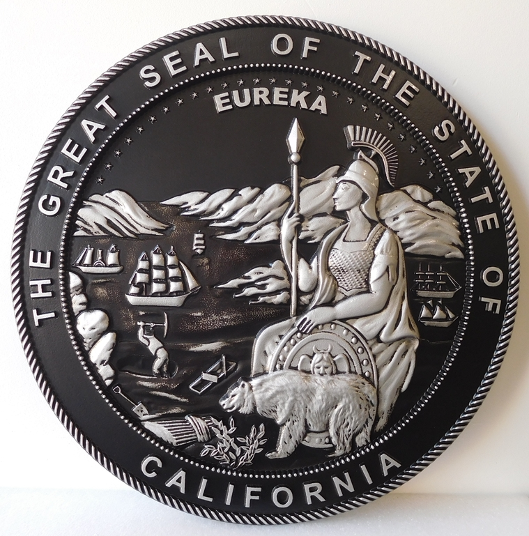 BP-1070 - Carved Plaque of the Seal of the State of California, Artist Painted