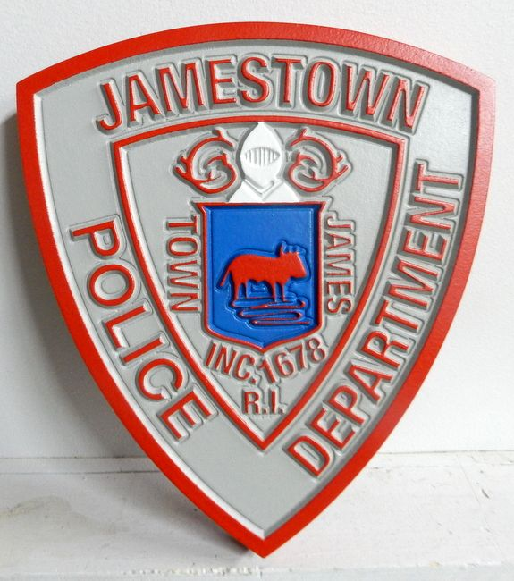 PP-2060 - Carved  Wall Plaque of the Shoulder Patch of the Jamestown Police,  Virginia, Artist Painted