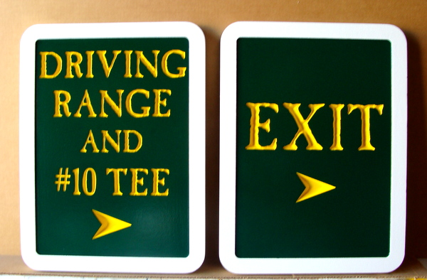 E14232  – Carved and Engraved HDU Wayfinding Signs to the Driving Range and Exit   for Golf Club