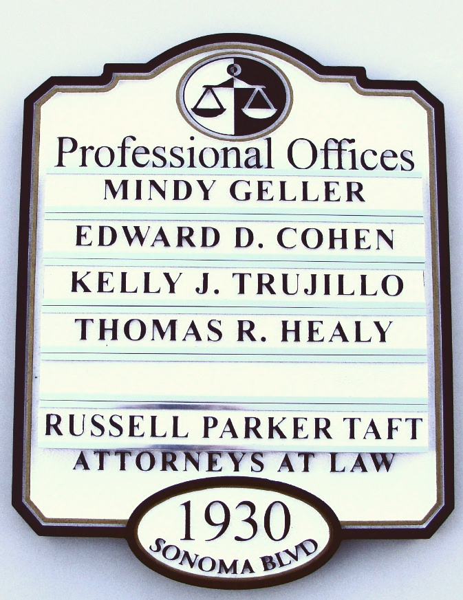 A10505 - Law Office Directory Sign with Changeable Nameplates