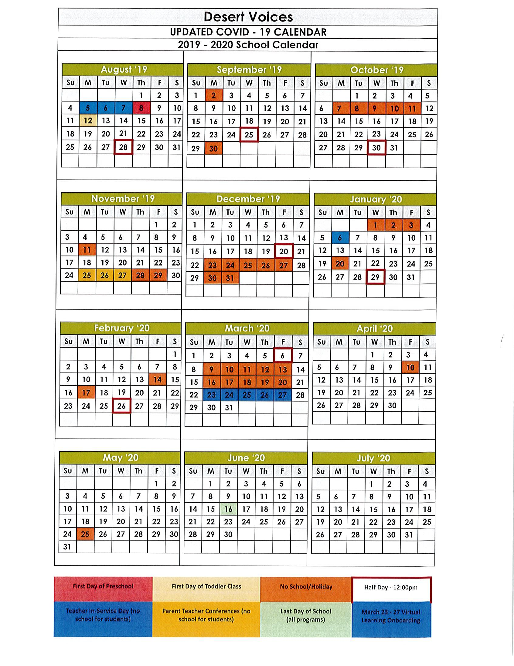 UPDATED COVID - 19 School Calendar 2019  - 2020